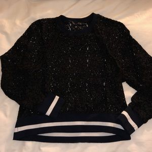 Lace crew pullover